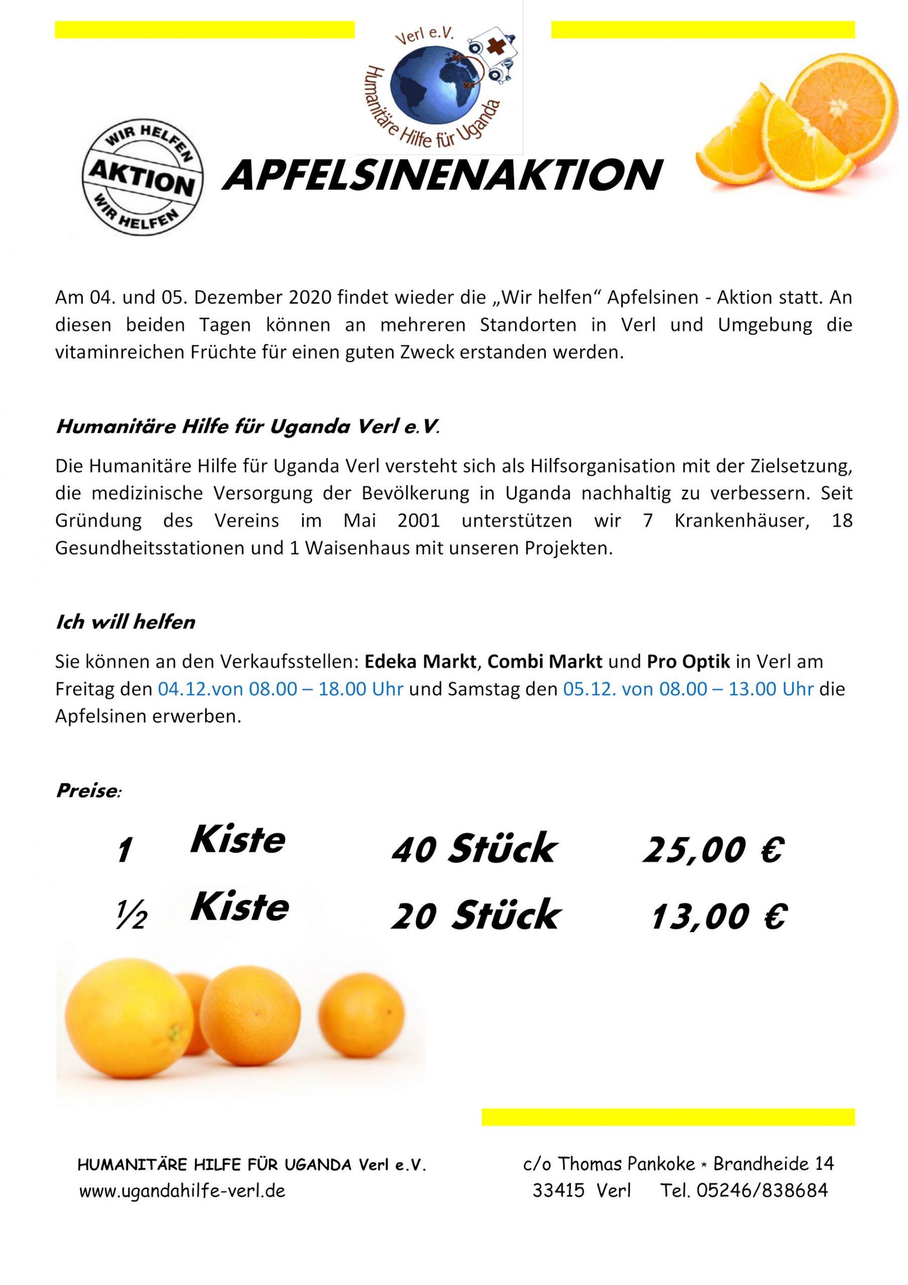 Flyer Apfelsinenaktion 2020
